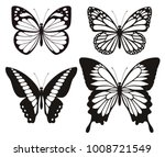 Stock vector butterfly silhouette icons set vector illustrations 1008721549