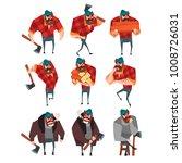 cartoon set of lumberjack in... | Shutterstock .eps vector #1008726031