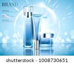 cosmetic set ads  sky blue... | Shutterstock .eps vector #1008730651