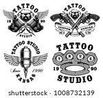 set of monochrome tattoo... | Shutterstock .eps vector #1008732139