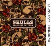 skull with roses seamless... | Shutterstock .eps vector #1008732439