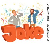 two adult men loudly laughing... | Shutterstock .eps vector #1008739885