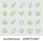 leaf green line icon | Shutterstock .eps vector #1008751867
