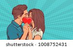 young couple kissing hollding... | Shutterstock .eps vector #1008752431