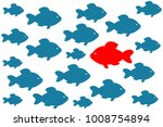 one red unique different fish... | Shutterstock .eps vector #1008754894
