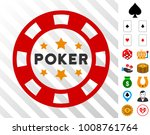 poker casino chip icon with...