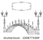 vintage bridge  lantern and... | Shutterstock .eps vector #1008773389