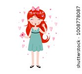 cute girl holding love letter.... | Shutterstock .eps vector #1008778087