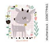 Stock vector cute cartoon deer in floral frame in scandinavian style childish print for nursery kids apparel 1008779461