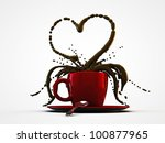 red cup coffee isolated on white background - stock photo