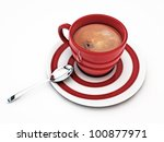 red coffee cup isolated on white background - stock photo