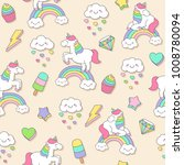 cute pastel unicorn and doodle... | Shutterstock .eps vector #1008780094