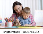 mother and child son drawing... | Shutterstock . vector #1008781615