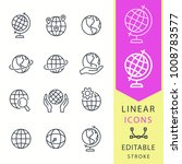 globe  line vector icon set.... | Shutterstock .eps vector #1008783577