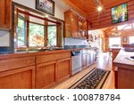 Large Kitchen Log Cabin House...