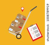 packages delivery with trolley. ... | Shutterstock .eps vector #1008789919