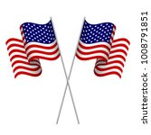 two 3d american flags.... | Shutterstock .eps vector #1008791851