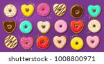 different donuts in shape of... | Shutterstock .eps vector #1008800971