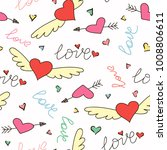 hand drawn doodle love seamless ... | Shutterstock .eps vector #1008806611