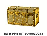 Antique Golden Coffer Isolated...