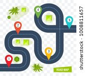 road map with colorful marks... | Shutterstock .eps vector #1008811657