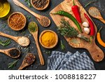 cooking table with spices and... | Shutterstock . vector #1008818227
