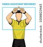 football referee shows video...   Shutterstock .eps vector #1008823465