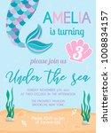 mermaid birthday invitation....   Shutterstock .eps vector #1008834157