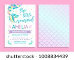 Stock vector cute birthday party invitation our little mermaid vector illustration 1008834439