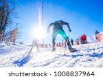 nordic ski athlete on the track.... | Shutterstock . vector #1008837964