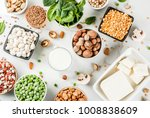 Stock photo healthy diet vegan food veggie protein sources tofu vegan milk beans lentils nuts soy milk 1008838609