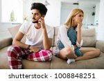 worried couple having problems... | Shutterstock . vector #1008848251
