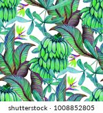 tropical seamless pattern with... | Shutterstock . vector #1008852805