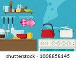 interior of kitchen  pans on... | Shutterstock .eps vector #1008858145