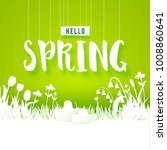 hello spring text with meadow... | Shutterstock .eps vector #1008860641