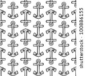 Doodle style seamless maritime boat anchor background illustration in vector format - stock vector
