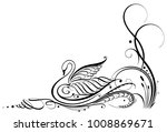 filigree calligraphy swan with... | Shutterstock .eps vector #1008869671