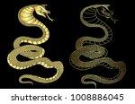 golden snake cobra tattoo.hand...   Shutterstock .eps vector #1008886045