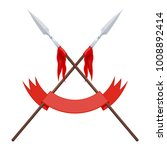two spears  a flag and a red... | Shutterstock .eps vector #1008892414