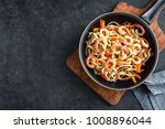 stir fry with udon noodles ... | Shutterstock . vector #1008896044