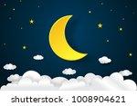 big half moon  clouds and stars ...
