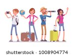 travelers group with luggage.... | Shutterstock .eps vector #1008904774