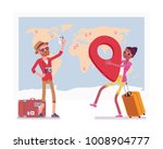 travel planning at map. man and ... | Shutterstock .eps vector #1008904777