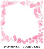 watercolor pink rose frame on... | Shutterstock .eps vector #1008905281
