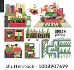 urban farming  gardening or... | Shutterstock .eps vector #1008907699