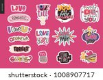 set of contemporary girlie love ... | Shutterstock .eps vector #1008907717