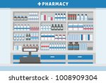 pharmacy interior with drug... | Shutterstock .eps vector #1008909304