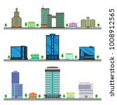 skyscrapers. colorful cottage... | Shutterstock .eps vector #1008912565