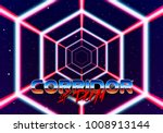 neon tunnel in space with 80s... | Shutterstock .eps vector #1008913144