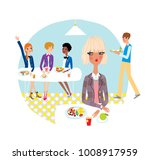 lonely girl refusing to eat in... | Shutterstock .eps vector #1008917959